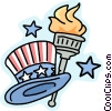 Uncle Sam's hat and torch Vector Clip Art image