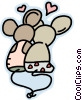 Vector Clip Art picture  of a Mice in love