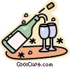 Vector Clipart image  of a champagne glasses and bottles