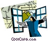 woman opening windows to get fresh air Vector Clip Art image