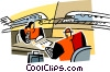 Vector Clip Art graphic  of a travel agent
