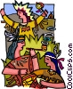 Vector Clip Art image  of a Indians celebrating with peace