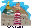 Asoka Monastery, Ta'er Lamasery, Mogao Grottoes Vector Clipart illustration