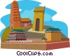 Famen Temple, Maoling Tomb, The City Wall of Xi'an Vector Clip Art picture