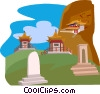 Beicham Temple, Mt. Sun and Moon Vector Clipart illustration