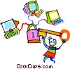 Vector Clip Art graphic  of a the keys to technology