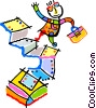 Vector Clip Art image  of a climbing a mountain of