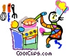 Vector Clip Art graphic  of a chef cooking at the stove