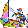 Vector Clip Art image  of a man with a sailboat