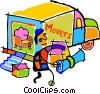 Vector Clipart illustration  of a moving truck