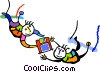 Vector Clipart illustration  of a flying trapeze