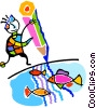 fish in a lake Vector Clipart illustration