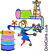 Vector Clip Art image  of a oil rigs