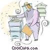 Vector Clip Art graphic  of a bee keeper