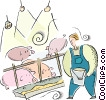 Vector Clip Art graphic  of a pig farmer