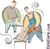Vector Clip Art picture  of a carpenters