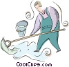 Vector Clip Art graphic  of a janitor
