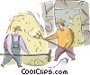 farmers with a haystack Vector Clip Art graphic