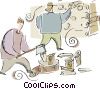 chopping firewood Vector Clipart picture