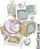 Vector Clip Art image  of a television repairman