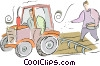 Vector Clipart graphic  of a farmer plowing and planting