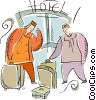 Vector Clip Art graphic  of a hotel bell hop and traveler