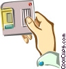 Vector Clipart image  of a Hand with diskette
