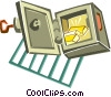 safe with gold bars Vector Clipart graphic