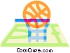 Vector Clipart illustration  of a basketball hoop, basketball court