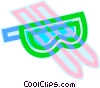downhill skis with goggles Vector Clipart picture