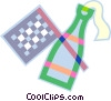 checkered flag and champagne Vector Clipart illustration