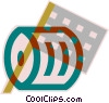 Vector Clip Art image  of a checkered flag and racing tire