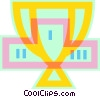 Vector Clip Art picture  of a trophy with podium