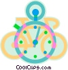 Vector Clip Art image  of a bicycle and stop watch