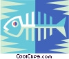 Vector Clip Art image  of a Fish bones