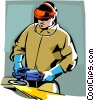 Vector Clip Art image  of a man with an electric grinder