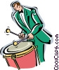 Vector Clip Art image  of a drummer with timpani