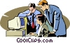 colleagues meeting around a computer Vector Clipart picture