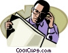 Vector Clipart image  of a Man reading a newspaper