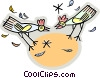 Vector Clip Art image  of a Chickens and Hens