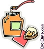 Vector Clipart graphic  of a honey on a piece of bread