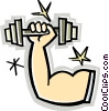 Vector Clip Art picture  of a Muscular arm with weights