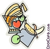 Vector Clip Art graphic  of a fruit bowls
