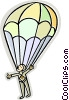 Man parachuting Vector Clip Art graphic
