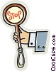 Vector Clipart graphic  of a Hand with stop sign