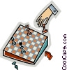 Hand with chess game Vector Clipart graphic