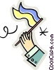 Hand waving generic flag Vector Clip Art graphic