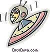 Vector Clipart graphic  of a Flying saucer with alien