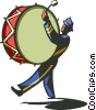 Vector Clipart graphic  of a man in a band with a bass drum