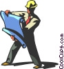 Vector Clipart picture  of a construction worker reading